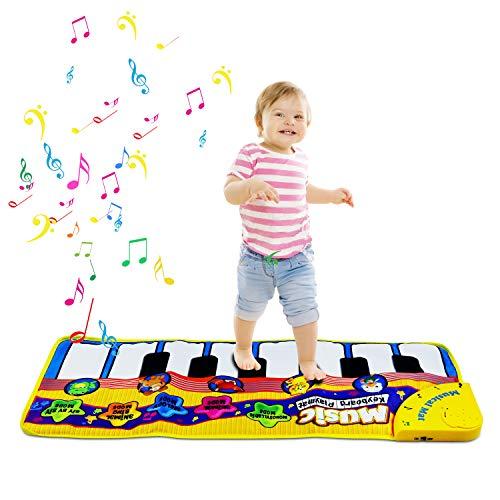 m zimoon Piano Alfombra, Alfombra Musical Teclado Estera de Alfombra Toca Música Alfombra de Baile Regalo para Niños Pequeños (Amarillo)