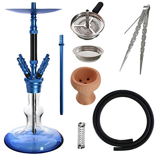 Kaya Shisha Elox Eco Carbonia - Aluminium Hookah 70cm im Carbon Look mit 4 Anschlüssen und Zubehör (Blau)