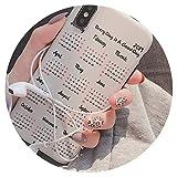 iPhone適用モバイルケースカバーカレンダーソフトケース8plusiPhone適用x携帯電話ケースXSマックス/iPhone適用X/7p/6iPhone適用6sシリコーンおしゃれ,iPhone適用XSマックス