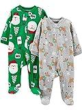 Simple Joys by Carter's Baby 2-Pack Christmas Fleece Footed Sleep and Play, Heather Grey Reindeer/Green Santa, 6-9 Months