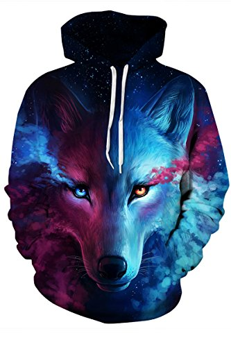 LEISUP Unisex Realistic 3D Printed Graphic Big Pocket Hoodies Dark Wolf S