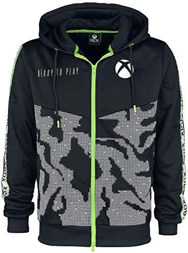 sap-media Microsoft Xbox Tech All-Over Print Full Length Zipper Hoodie, Male, Large, Black (HD143567XBX-L)