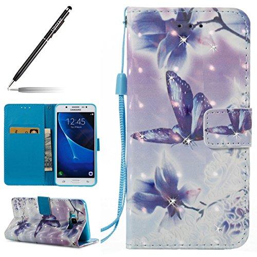 Uposao Kompatibel mit Samsung Galaxy J5 2016 Handyhülle Glitzer Leder Hülle Ledertasche Glänzend Strass Diamant Handytasche Schutzhülle Leder Flip Hülle Wallet Tasche,Blau Schmetterling