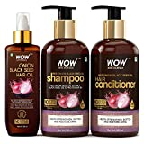 WOW Skin Science Onion Oil Ultimate Hair Care Kit (Shampoo + Hair Conditioner + Hair Oil), 800 ml