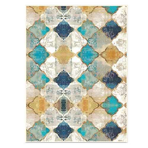 HE TUI Tapis Vintage Blanc Jaune Vert Bleu Géométrique Style Ethnique Marocain Chambre Grand Tapis De Sol Tapis Antidérapants pour Salon Décor À La Maison,150 * 200cm