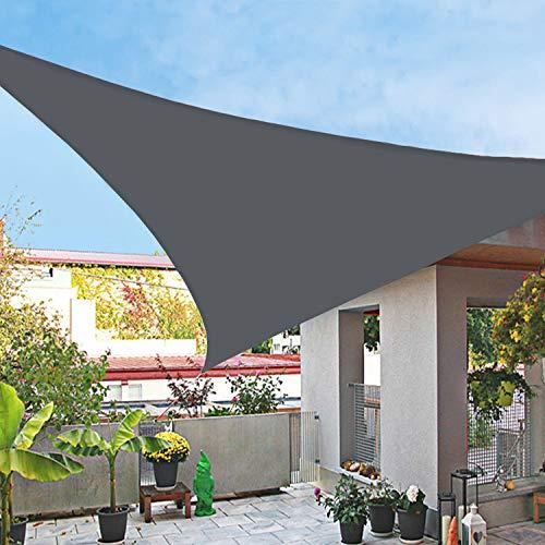 HERAHQ Kit de parasoles triangulares, impermeable, tela de tela 95% bloqueador solar, toldo para jardín, playa, patio, patio, fiesta, color negro, 4,5 x 4,5 x 4,5 m