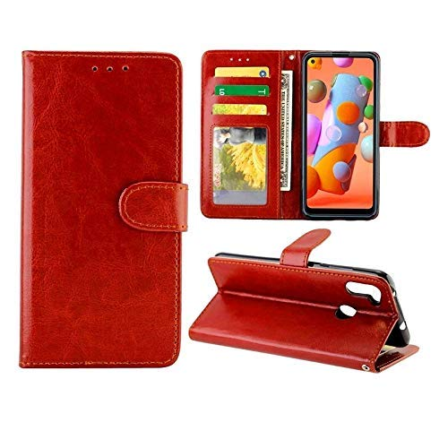Cases For Galaxy A11 Crazy Horse Texture Leather Horizontal Flip Protective Case with Holder Card Slots Wallet Photo Frame(Black)(Brown)(Magenta)(Baby Blue) (Color : Baby Blue) MISU ( Color : Brown )