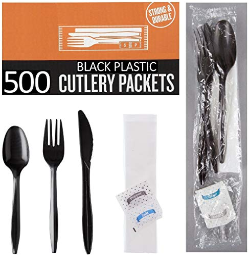 500 Plastic Cutlery Packets - Knife Fork Spoon Napkin Salt Pepper Sets  Black Plastic Silverware Sets Individually Wrapped Cutlery Kits Bulk Plastic Utensil Cutlery Set Disposable To Go Silverware