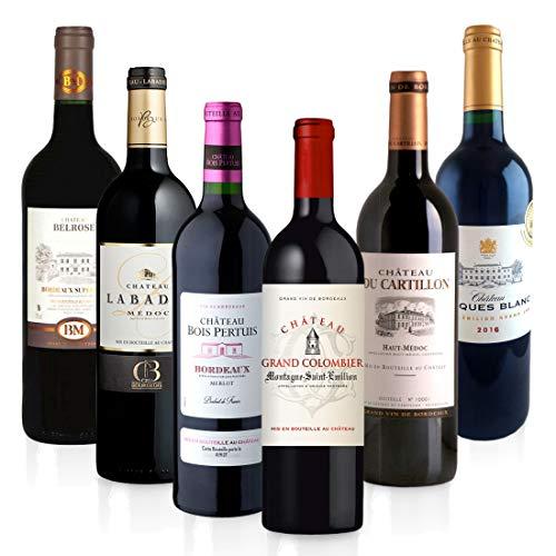 Feinste Weine - 90 Pts-Bordeaux Weinselektion - 6 ausgezeichnete Rotweine - 90 Punkte und mehr, Paket mit:6 Flaschen