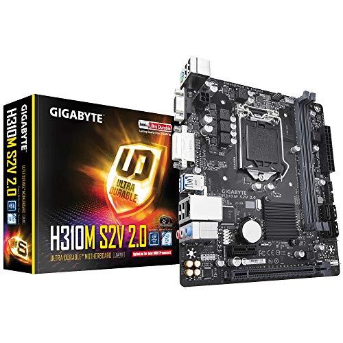 Gigabyte H310M S2V 2.0 - Placa Base (Intel,  LGA 1151 (Zócalo H4),  Intel® Celeron®,  Intel® Core™ i3,  Intel Core i5,  Intel Core i7,  Intel® Pentium®,  DDR4-SDRAM,  DIMM,  2133, 2400, 2666 MHz)
