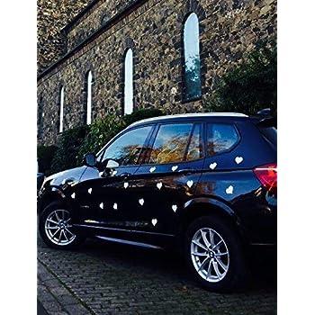 10er Pack Auto Schmuck f/ür Hochzeit oder Valentinstag Magnetherzen f/ür das Auto Wei/ß matt Wei/ß Matt