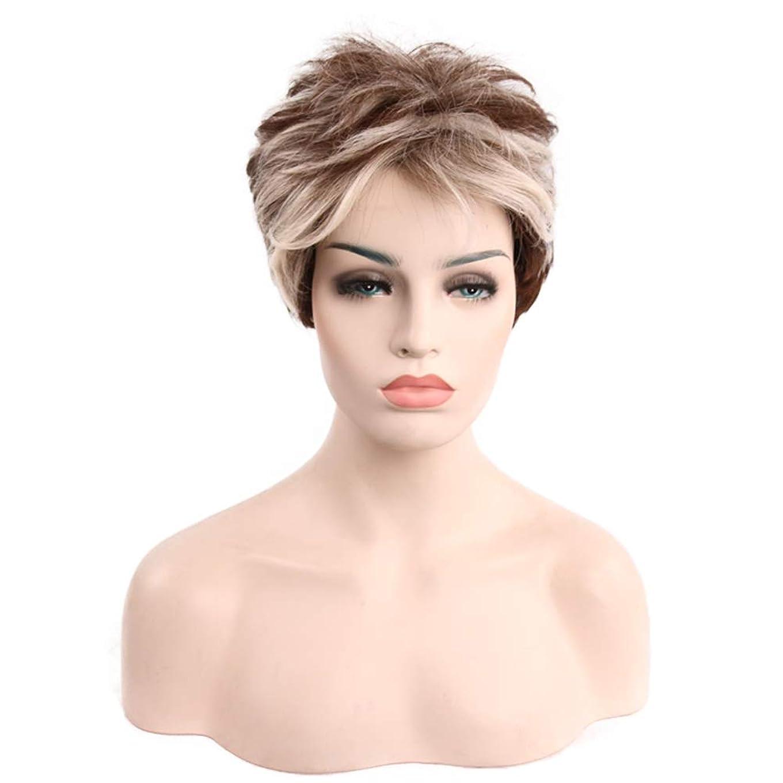 みすぼらしいネックレス一握り女性用ブラウンショートカーリーヘアウィッグ自然髪ウィッグ前髪付き合成フルヘアウィッグ女性用ハロウィンコスプレパーティーウィッグ、9インチ
