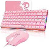 Gaming Keyboard Mouse Combo Wired Rainbow Led Backlit 82 Keys Ergonomic Gamer Pink Keyboard+4800DPI Adjust 7 Buttons USB Optical Game Mouse Sets Mousepad for PC Laptop (Pink Mixed Light)