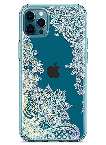 Coolwee Clear Glitter Compatible with iPhone 12 Pro Max Case Thin Flower Cute Crystal Lace Bling Women Girls Floral Plastic Hard Back Soft TPU Bumper Protective Cover Slim Fit Mandala Henna