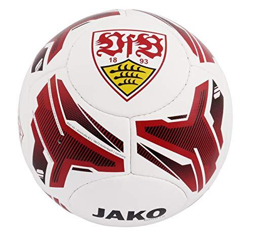 JAKO Unisex Jugend VfB Stuttgart Ball, weiß/rot, 1