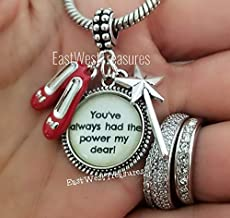 Wizard of Oz Charm Bracelet, Necklace, Keychain - Dorothy Ruby Red Slippers Jewelry Gift - You've Always had the Power