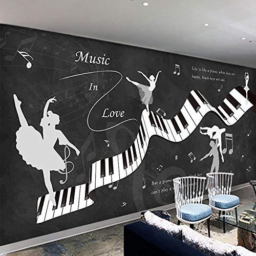 XQFZXQ Wandgemälde Musik Tanzraum Klavier Lied Gitarre Selbstklebend PVC 3D Wandgemälde Fernseher Hintergrund Wohnbereich Kinderzimmer Thema Hintergrund Junge Mädchen Karikatur Film Ze(B)400x(H)280cm