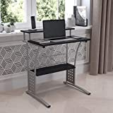 Flash Furniture Clifton Computer Desk - Black Home Office Desk - Raised Monitor Shelf - Perforated...