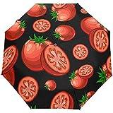 Paraguas De Viaje Tomates Veganos Auto Abierto Compacto Plegable Protección contra El Sol Y La Lluvia Paraguas con Protección UV A Prueba De Viento