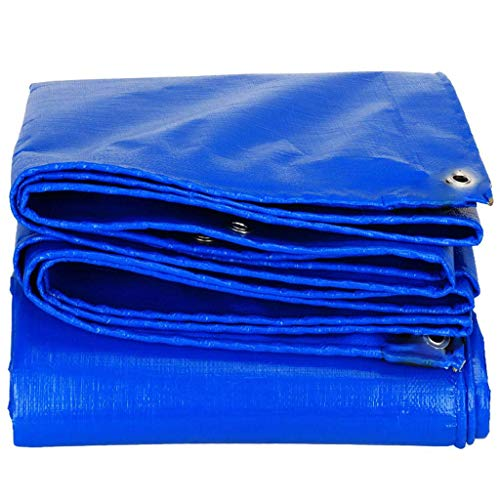 Heavy Duty Tarp, Waterproof Poly Large Covering for Outdoor Trailer, Firewood, Tarpaulin Canopy Tent, Boat, RV or Pool Cover, Blue 20x25 Feet