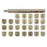 Mogokoyo - Juego de Sellos de Letras y números de 3 mm, Herramientas para Hacer Sellos de Piel y Tallado, Dorado, 6 mm