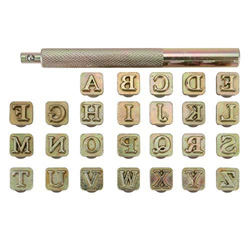 Mogokoyo 26 PCS A-Z Alphabet Buchstaben Metall Stempel-Set Stamping Punch Leder Werkzeuge für DIY Handgemacht Leder (6mm)