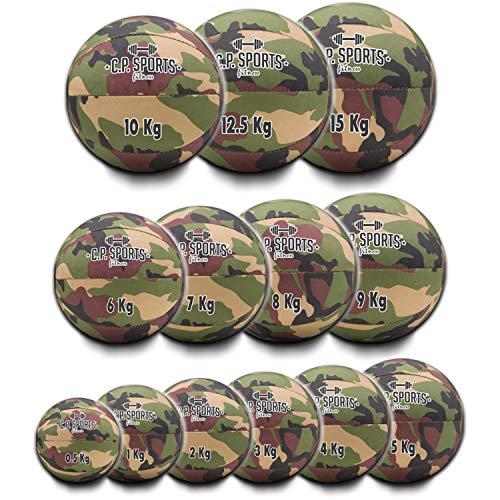 C.P. Sports - Balón medicinal de camuflaje militar, verde oliva o blanco, de 0,5 kg a 15 kg, para deporte, fitness, crossfit, rehabilitación (camuflaje oliva, juego de 3 pelotas de 3/4/5 kg)
