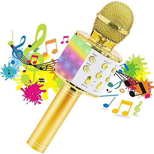Wireless Karaoke Microphone for Kids with LED Lights, Portable Handheld Bluetooth Speaker Mic, Gift Toys Birthday Home KTV Music Player & Recorder Machine Compatible with Android & iOS
