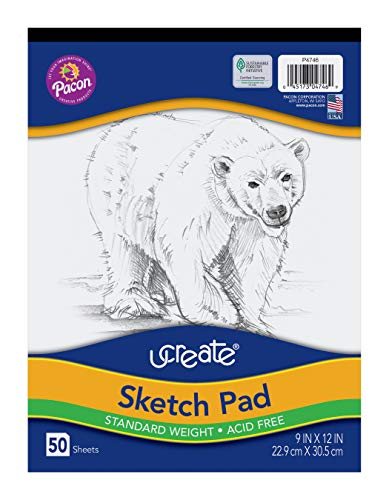 "UCreate Sketch Pad, Standard Weight, 9"" x 12"", 50 Sheets"