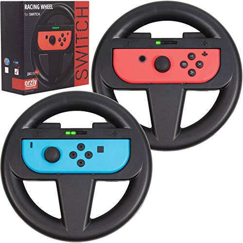 Steering Wheels for Nintendo Switch Joy-Cons, Racing Wheels for Mario Kart 8 Deluxe [Mariokart Switch Steering Wheel Joycon Controller Attachment Accessories] - TWIN PACK [2X Black Wheels]
