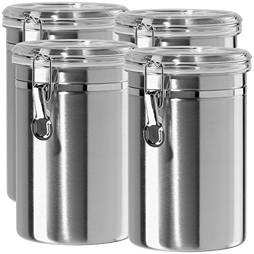 Stainless Steel Canisters for the Kitchen - Beautiful Airtight for Kitchen Counter Medium 64 fl oz Food Storage Container Tea Coffee Sugar Flour Canisters by SilverOnyx - Medium 64oz - 4 Piece