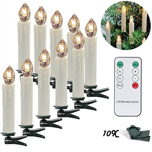 LED Weihnachtskerzen 10er Kabellos Kerzen, LED Christbaumkerzen mit Timer, Beige, Warmweiß, Flammenlose