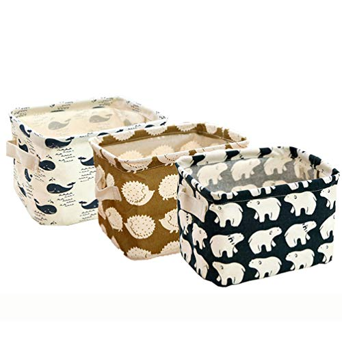 Orino Waterproof Animal Style Storage Baskets Small Collapsible Portable Storage Bins Organizers Home Decor for bedrooms, Nurseries, Study Room, Rest Room, Kitchen, Office, Set of 3