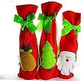 3 Unids Cubierta De Botella De Vino De Navidad con Bonita Corbata Exquisita Bolsas De Decoración De Vino Tinto para La Fiesta De La Fiesta De La Fiesta En Casa Atmósfera De Navidad