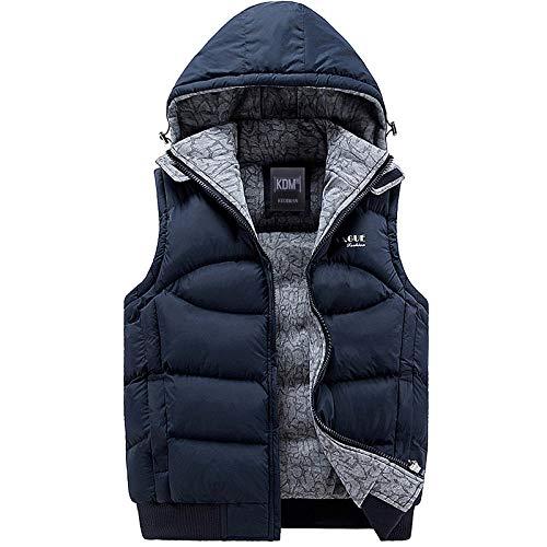 Chaqueta sin mangas de moda 2019 para hombre, 100% algodón, con capucha, chaleco cálido, chaleco de invierno, para hombre, chaqueta de viento, casual azul navy XXL
