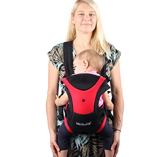 Neotech Care Baby Carrier  Front and Back Carrying  Adjustable Breathable amp Lightweight  for Infant Child Toddler  Black with Red