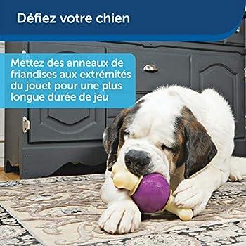 PetSafe - Jouet à mâcher pour Chien Busy Buddy Bouncy Bone Jouet 3-en-1 - Os, Balle et Friandise – Pour les grands machouilleurs - Durable et Résistant - Idéal pour les chiens de grand taille - L