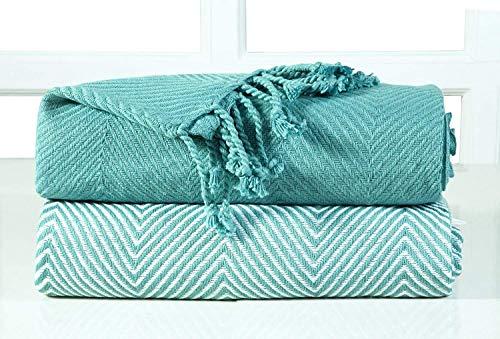 TE algodón Single Manta de sofá, Color Azul, 125 x 150 cm, Pack de 2