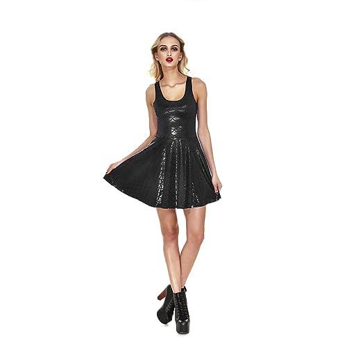 edbc7364b1b4 JEANSWSB Women Shiny Mermaid Fish Scales Print Sleeveless Pleated Flared  Skater Dress