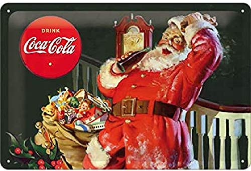 Nostalgic-Art 62755 Coca-Cola – Classic Santa – Idée de Cadeau pour Les Fans de Coke, en métal, Déco Design Retro, 20 x 30 cm