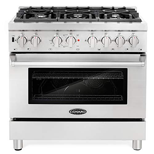 Cosmo COS-DFR366 Freestanding Professional Style Dual Fuel Range with 4.5 cu. ft. Electric Convection Oven, 6 Italian Made Burners, Cast Iron Grates, in Stainless Steel, 36 Inch