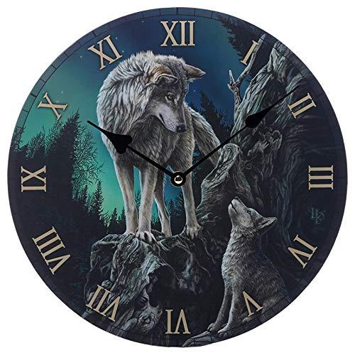 Babylonia 30,5 cm Guidance Wolf Design Bild Uhr leise nicht tickend Fantasy arabische Ziffern Runde Wanduhren für Wohnzimmer Küche Schlafzimmer Home Office