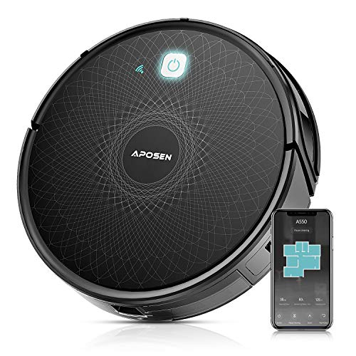 APOSEN Robot Vacuum,Wi-Fi Connected, 2100Pa Robotic Vacuum Cleaner Works with Alexa, Ideal for Pet Hair, Hardwood Floors, Thick Carpet, Self-Charging Automatic Cleaning Robot Cleaner, A550