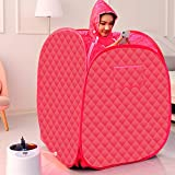 SEAAN Portable Steam Sauna Spa,2.6L Steamer with Folding Chair,Foldable Lightweight Tent,Personal Home Full Body Spa for Weight Loss Detox Therapy (Red)