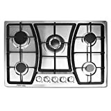 30 inches Gas Cooktop 5 Burners Gas Stove gas hob stovetop Stainless Steel Cooktop 5 Sealed Burners Cast Iron Grates Built-in Gas Stove Top LPG/NG Gas Cooktop Thermocouple Protection and Easy to Clean