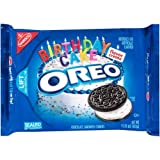 Nabisco, Oreo, Birthday Cake Creme, Chocolate Cookie, 15.25oz Bag (Pack of 4)