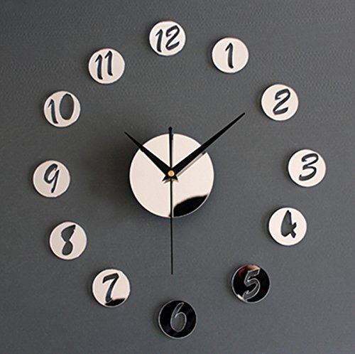 horloge murale CivilWeaEU- Miroir Acrylique Bricolage Mur Montre Mode Créatif Horloge Portefeuille Autocollant (Couleur : Mirror Silver)