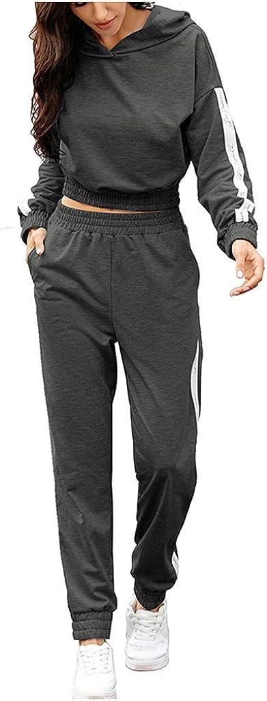 VEZAD Women Two Piece Splicing Contrast Print Tracksuit Long-Sleeved Sweatshirt +Stripe Pants Suit