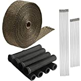 LEDAUT Titanium Exhaust Heat shield Wrap Roll 2' x 50'and Black 8 Cyl Spark Plug Insulating Fire Sleeve Wire Heat Protector with Stainless Ties for Car Motorcycle Fiberglass Heat Shield pipe Tape