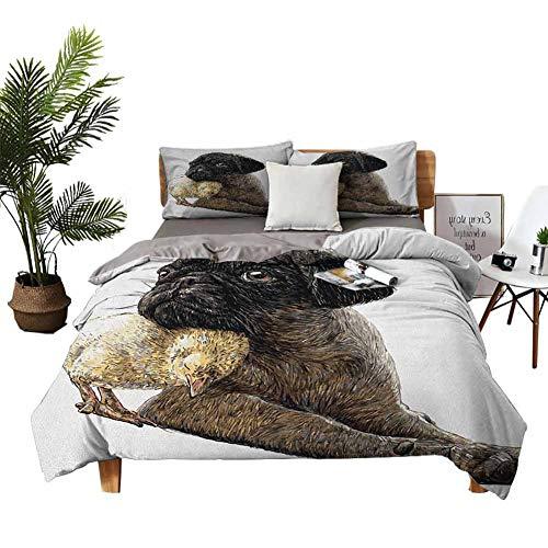 Dragon Vines Juego de ropa de cama de 4 piezas, juego de cama de matrimonio, gafas nerdy y pajarita punteada en un cachorro con un fondo a cuadros arena, marrón, negro, azul, sin irritación a la piel.